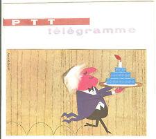 TELEGRAMME FRANCE NEUF AVEC ENVELOPPE THEMES ANNIVERSAIRE GATEAUX ANNEES 1960
