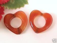 2x RED AGATE GEMSTONE BEADS, DRILLED OPEN HEARTS, 23mm