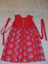 HANDCRAFTED LITTLE GIRL ORANGE DRESS WITH FLOWERS SIZE 2