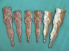 6 garnitures galbées ornements décoration meuble laiton doré ht 15,6 & 19,5 cm