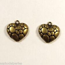 2 breloques coeur à bulles métal couleur bronze 18x18 mm