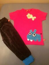 Lipfish Short Sleeve Hippo Pink T Shirt & Matching Troos Age 3-4 Years Brand New
