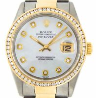 Rolex Datejust Mens 2Tone 18K Yellow Gold & Steel Watch White MOP Diamond 16013
