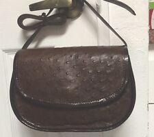 Vintage 1990's  Authentic Ostrich Leather Shoulder Bag, Dark Brown