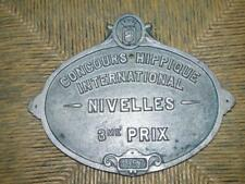 Vintage 'Concours Hippique International Nivelles 1957' Horse Riding Wall Trophy