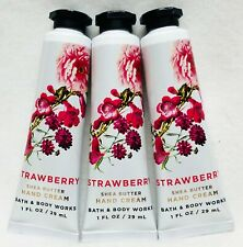3 Bath & Body Works STRAWBERRY Hand Cream Lotion Mini Travel 1 oz