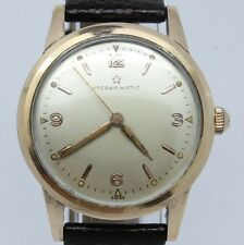 VINTAGE Eterna-Matic Mens 34mm Steel & Rose Gold Automatic Watch Original 1246UC