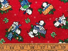 Cotton Quilt Fabric Christmas Puppy Dalmatians Joan Kessler Bthy