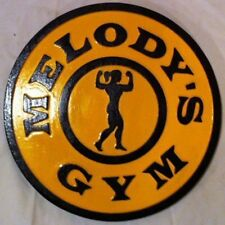 Gold's Gym Female 3D routed carved wood sign sports bar Gold Custom