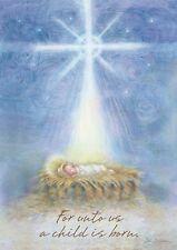"""Winter Christmas Religious Jesus Manger Scene Large Flag """"A Child Is Born"""""""