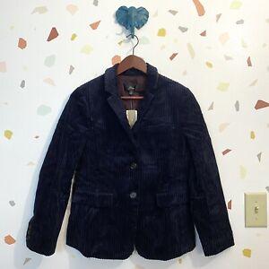 NWT J Crew SZ 8P Navy Blue Thick Corduroy Button Blazer Suit Jacket 8 Petite