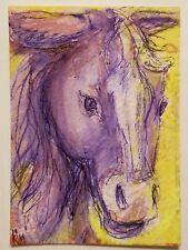 ACEO kimartist HAPPY HORSE original art animal barnyard brut farm portrait sfa