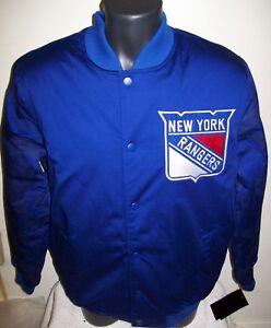 NEW YORK RANGERS STARTER Varsity Jacket Rangers Logos on Sleeves  M L XL Blue