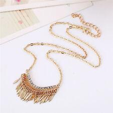 Women Gold Bib Crystal Rhinestone Pendant Long Chain Statement Fashion Necklace