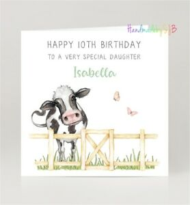 Personalised Cow Birthday Card, For Daughter/Granddaughter/Sister/Niece/Friend