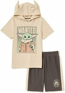 Star Wars Baby Yoda Boys Hoodie T-Shirt & Knit Pull On Shorts 2 Piece Set