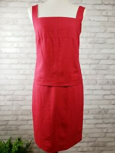 Laura Ashley size 4 camisole and pencil skirt set Lipstick red 100% linen