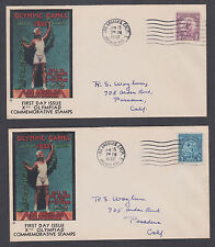 US Mel 718-719-9 FDC. 1932 Olympics, cplt set, Olympic Cover Co. cachet, matched