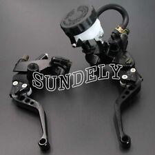 """Motorcycle Universal Black Clutch Brake Levers Master Cylinder Reservoir 7/8"""" UK"""