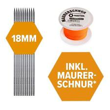 10x Schnureisen 1 m Länge 18 mm Durchmesser Schnurnagel Schnurpfahl Schnurstange