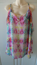 City Chic bright multi coloured spaghetti strap summer top Size XL