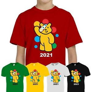 Spotty Pudsey Bear Kids T Shirt Charity Children In Need Dotty Spot Top Tee Gift
