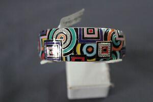 Belle Etoile Geometrica Bangle Bracelet Sterling Silver Enamel CZ 07021410202-M