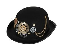 Adult Steampunk Black Bowler Hat with Gears Fancy Dress Sci Fi Accessory