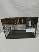 "RAE DUNN HOME Farmhouse Basket Organizer ""STUFF"" Metal Wood"