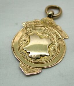 1911 Antique 9 Carat Rose Gold Medal Fob / Pendant