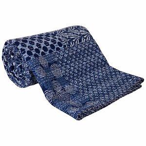 Floral Print Indigo Blue Blanket Indian Boho Bedding Ralli Bedcover Quilt Indian