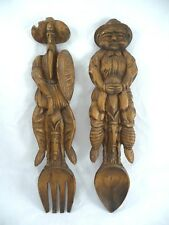 "Carved Wood 14.75"" Don Quixote Fork & Sancho Panza Spoon Wall Art"