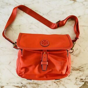 TORY BURCH Scout Solid Orange Nylon Leather Trim Crossbody Bag