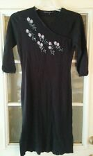 Mastina Pret-a-Porter Black Knit Dress Size 34 Beaded Flowers