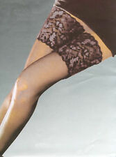 "Levee Luxury Black/Silver 5"" Deep Lace Top 20 denier Thigh  Hold-Up Stockings"