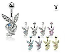 Playboy Bunny Belly Ring Pierced Navel Paved CZ Gem Surgical Steel Piercing