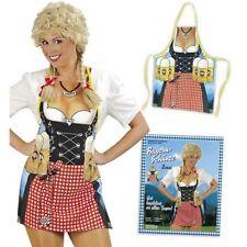 German Bavarian Oktoberfest Funny Costume Apron Dirndl Zenzi Waitress with Beer