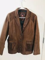 The Territory Ahead Womens Leather Jacket Size 8 Paisley Lining Dark Brown