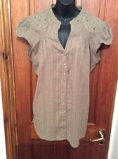 Olive Green Pin Tuck Summers Cotton Top Uk 14