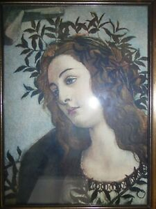 Botticelli Portrait of the Goddess Minerva. Framed Lithograph.