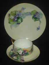 ROSENTHAL BAVARIA HAND PAINTED THREE PIECE CUP SAUCER PLATE SET PURPLE VIOLETS