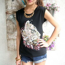 MNG TOP Shirt SCHWARZ TIGER GOLD Blink Kunstleder&Stoff Application Gr.36/38 S