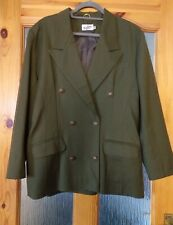 ENDORA Vintage Pure Wool Double Breasted Blazer Jacket Military Army Khaki Green