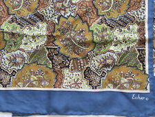 "60's Vtg Echo Floral Paisley Long Silk Scarf 15X46"" Rolled Hem Blue Green Brown"