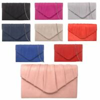 Womens Pleated Suede Wedding Party Prom Evening Clutch Hand Bag Purse HandBag