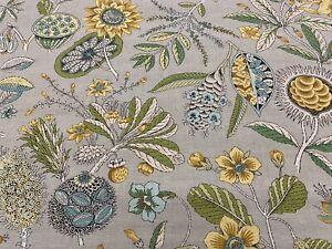 Schumacher Floral Seed Pod Linen Print Fabric- Roca Redonda / Grey Ochre 3.75 yd