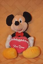 "Disney MICKEY MOUSE ""FOR YOU"" Valentine Box Plush Doll EXC Cond"