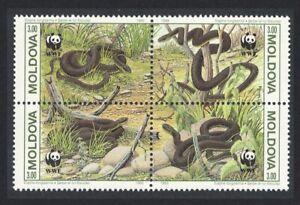 Moldova WWF Aesculapian Snake Fauna 4v Block of 4 1993 MNH SG#57-60