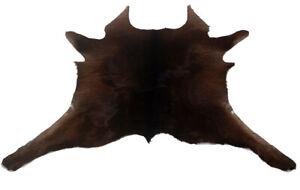"Cowhide Rugs Calf Hide Cow Skin Rug (34""x32"") Brown touch of Black CH8161"