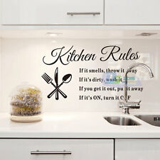 Hot DIY Removable Kitchen Rules Wall Stickers Decal Vinyl Bathroom Art Decor 1pc